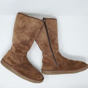 Ugg Suede Sunset Zip Tall Boots Brown sz 10
